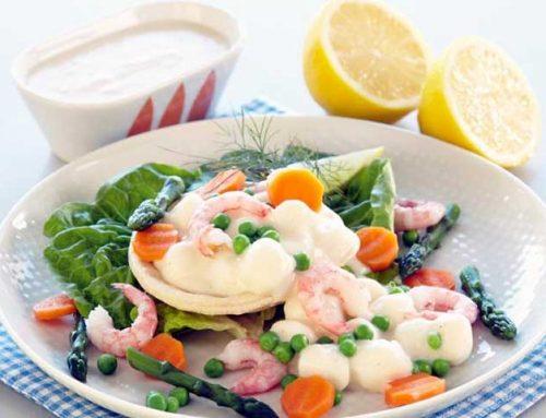 Terteskjell med fiskepudding i hvit saus