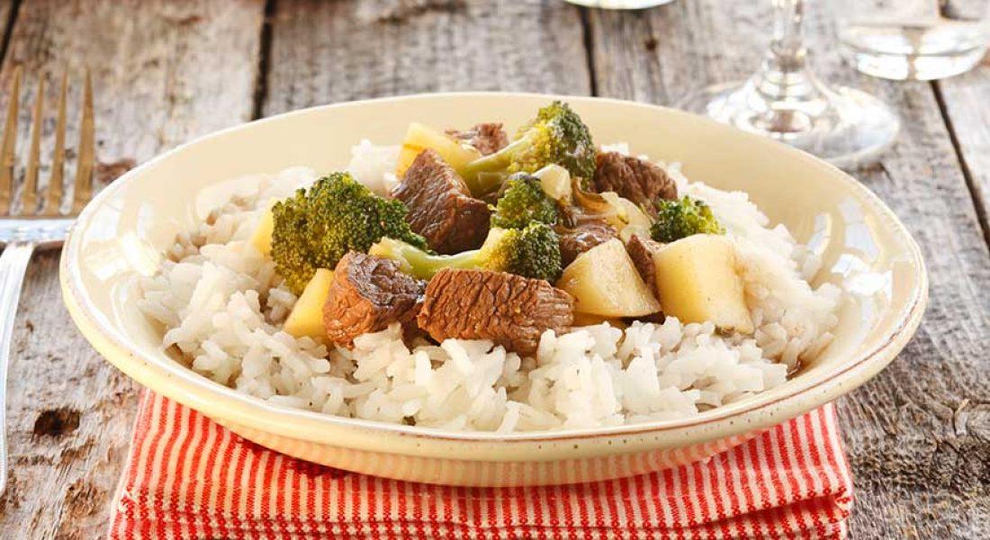 Biffgryte med brokkoli og pastinakk