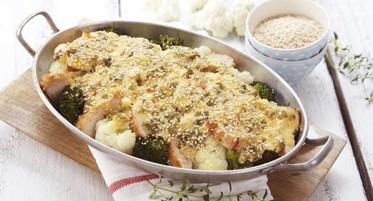 Brokkoli og blomkålform med spicy saus