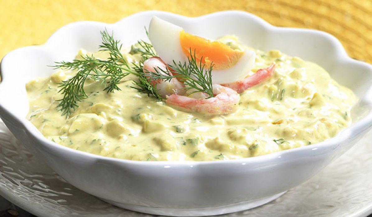 Eggesalat med reker