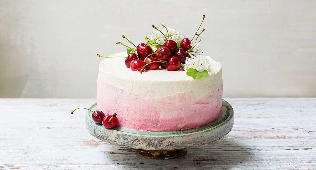 Kremkake med kirsebær mascarpone