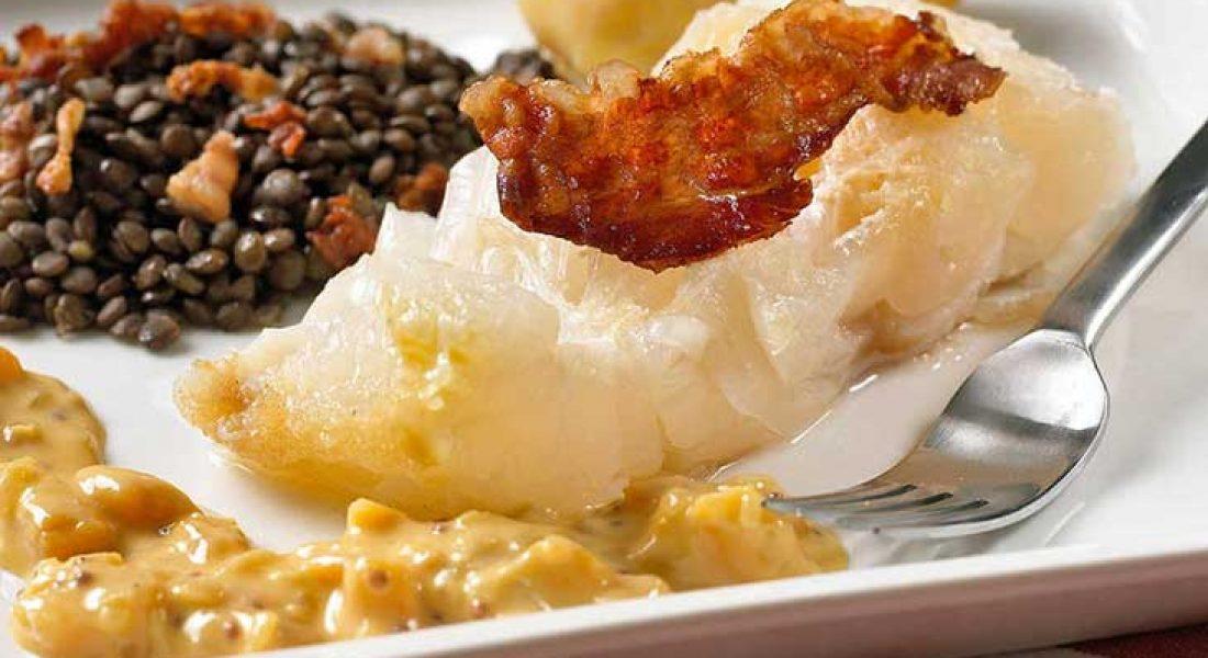 Lutefisk-med-grønne-linser-og-sennepssaus-1