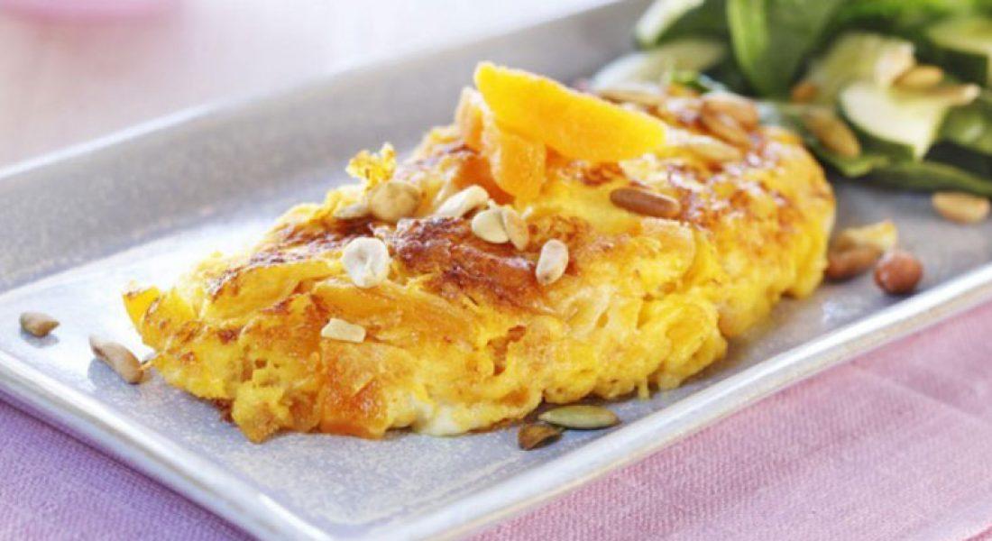 Omelett med aprikos og chèvre