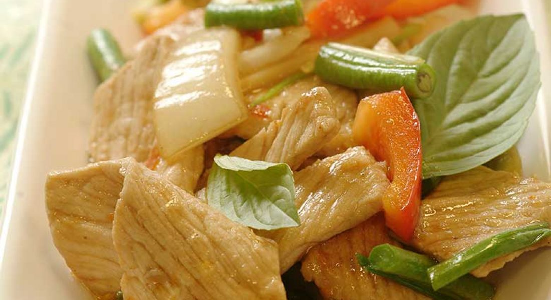 Pad Ka Pao Moo - wokstekt svinekjøtt med chili