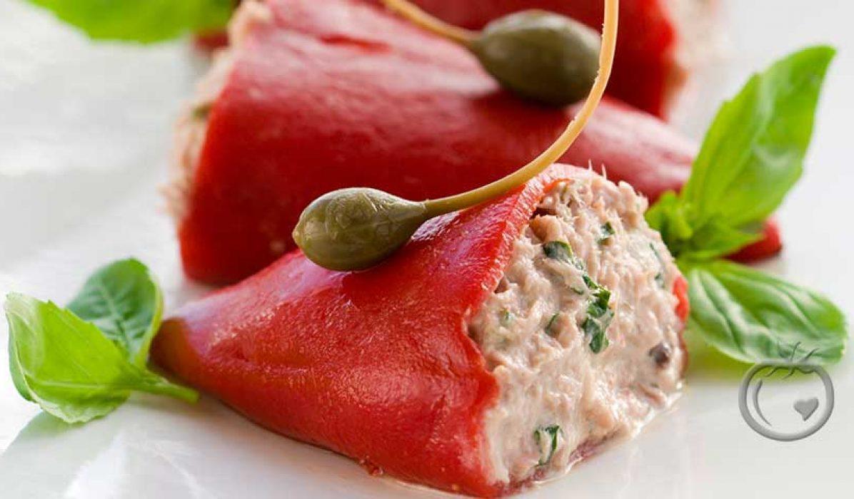 Paprika fylt med krabbesalat
