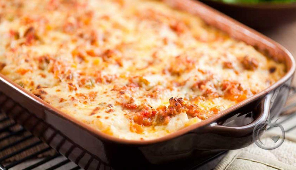 Pastagrateng med kjøttdeig