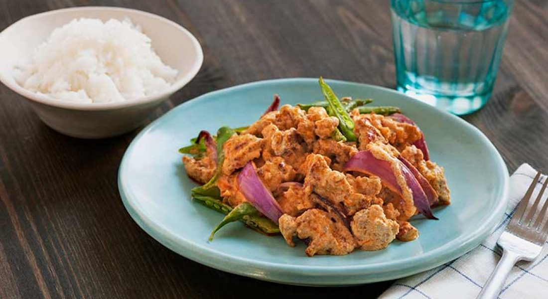 Rask thaicurry med kjøttdeig av svin