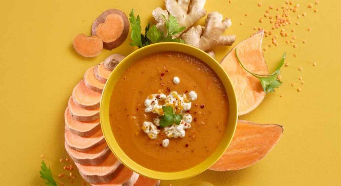 Søtpotet--og-linsesuppe-med-Cottage-cheese