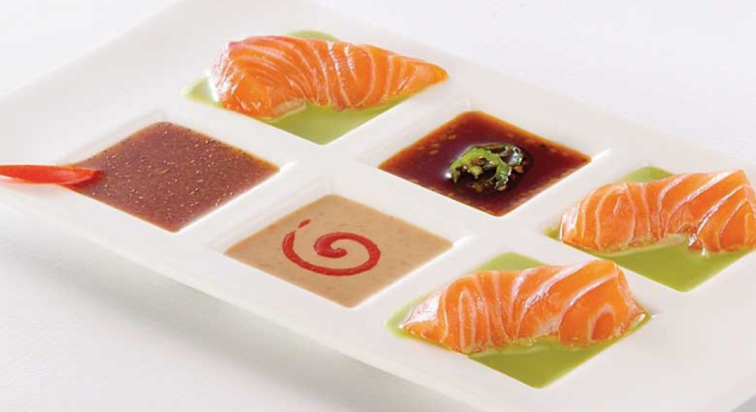 Sashimi med salsa og kremet wasabi