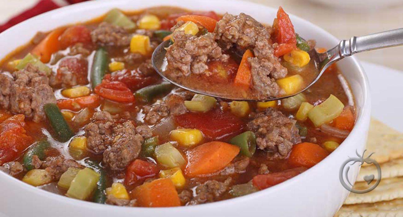 Suppe med kjøttdeig